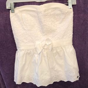 Hollister white halter top with liner medium